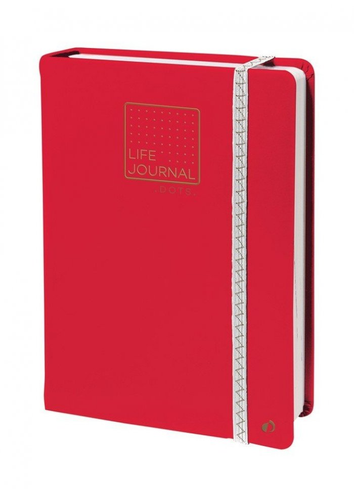 Carnet life journal dots : rouge corail
